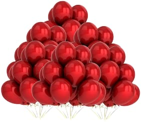 PTCMart Solid Metallic Red Balloon For Engagement Party Decoration (Red, Pack of 200Pcs) Balloon (Red, Pack of 200)