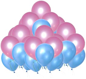 PTCMart Solid Metallic Pink And Blue Balloons For Birthday Anniversary Party Decoration (Pack of 400Pcs,Pink,Blue) Balloon (Pink, Blue, Pack of 400)