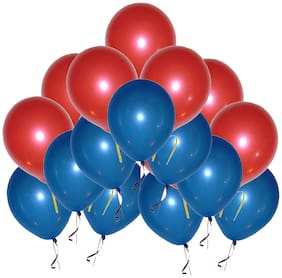 PTCMart Solid Metallic Red And Blue Balloon For House Party Decoration (Blue,Red, Pack of 50pcs) Balloon (Blue, Red, Pack of 50)