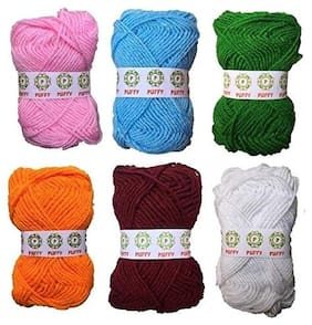 Puffy Hand Knitting Art Craft Soft Fingering Crochet Hook Wool Yarn & Needle Knitting Thread Multicolor (Pack of 6)