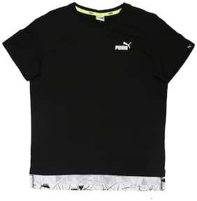 Puma Boy Blended Solid T-shirt - Black