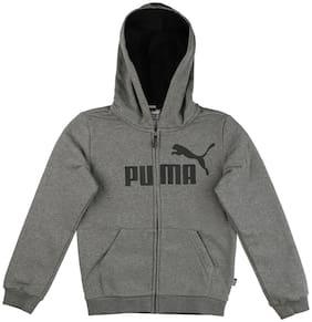 Puma Boy Cotton Printed Winter jacket - Grey