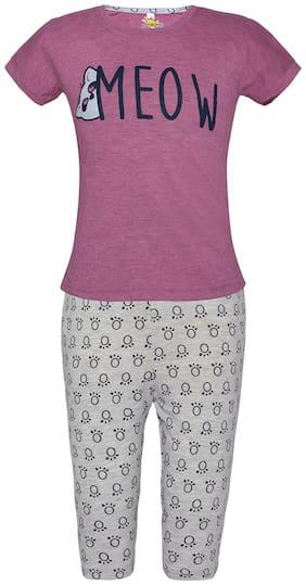 punkster Girl's Cotton Printed Short sleeves Top & capri set - Pink & Grey