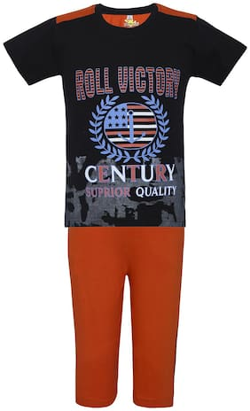 Punkster 100% Cotton Half Sleeve Black Tshirt with Orange 3/4th Bottom For Boys (6558A-4)