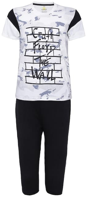Punkster Graphic Print 100% Cotton White T-Shirt With Black Bottom For Boys