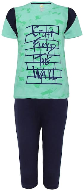 Punkster Graphic Print 100% Cotton Green T-Shirt With Navy Blue Bottom For Boys