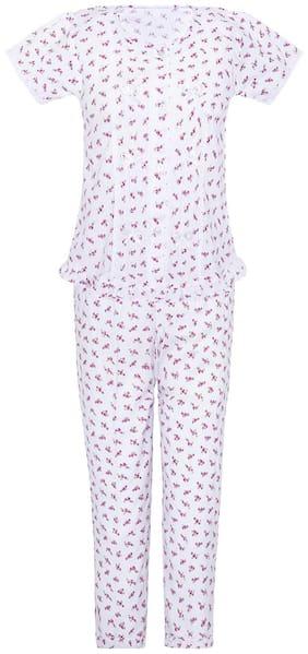 punkster Girl's Cotton Printed Short sleeves Top & pyjama set - White & Red