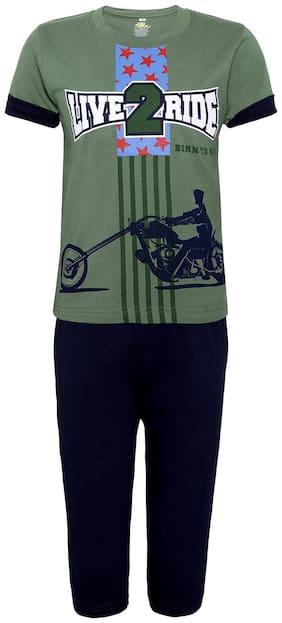 Punkster Nightwear For Boy (Green and Black)