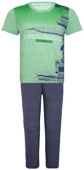 Punkster Nightwear For Boy (Green and Grey)