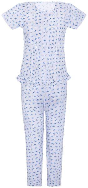 punkster Girl's Cotton Printed Short sleeves Top & pyjama set - Blue & White