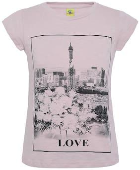 punkster Girl Cotton Printed T shirt - Pink