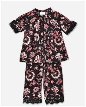 Cherry Crumble By Nitt Hyman Girl's Cotton blend Floral Short sleeves Top & pyjama set - Black