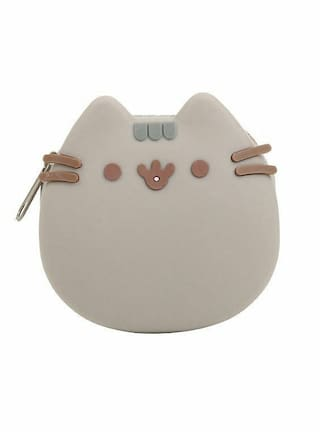 """Pusheen Facebook Kitty Cat 3 1/4"""" Silicone Coin Purse 3D Whiskers Ears Brand New"""