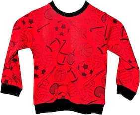 Qamash Boy Wool Printed Sweatshirt - Red