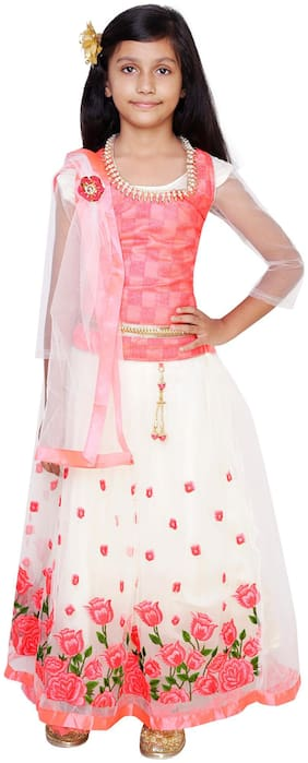 Qeboo Girl's Net Solid 3/4th sleeves Lehenga choli - Pink