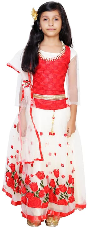 Qeboo Girl's Net Solid 3/4th sleeves Lehenga choli - Red
