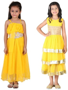 Qeboo Cotton Solid Frock - Yellow
