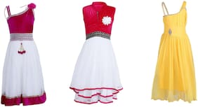 Qeboo Casual Dress For Girls in (Pack Of 3)