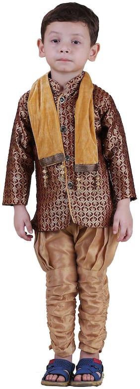 Qeboo Boy Poly georgette Solid Sherwani - Brown