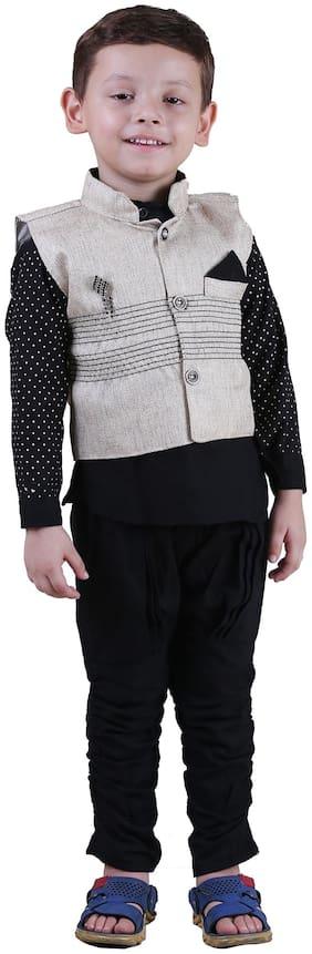 Qeboo Boy Poly georgette Printed Kurta pyjama set - Black