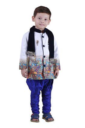 Qeboo Boy Poly Georgette Solid Sherwani - Blue