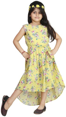 Qeboo Cotton Printed Frock - Yellow