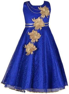 Qeboo Blue Cotton Sleeveless Knee Length Princess Frock ( Pack of 1 )