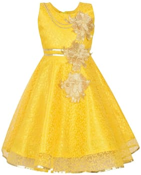 Qeboo Yellow Cotton Sleeveless Knee Length Princess Frock ( Pack of 1 )
