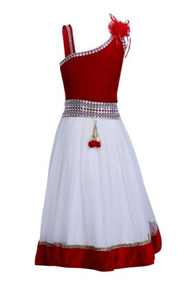 Qeboo Girl Net Embellished Frock - White