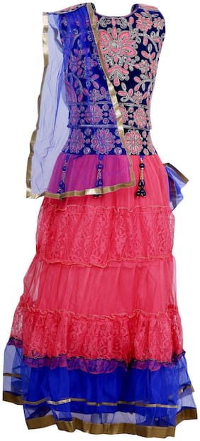 Qeboo Girl's Net Embellished Sleeveless Lehenga choli - Pink