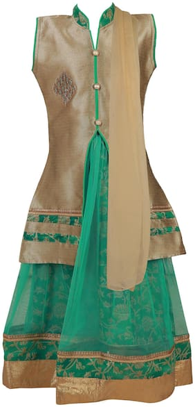 Qeboo Girl's Net Solid Sleeveless Lehenga choli - Green