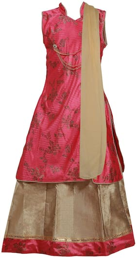 Qeboo Girl's Net Solid Sleeveless Lehenga choli - Pink