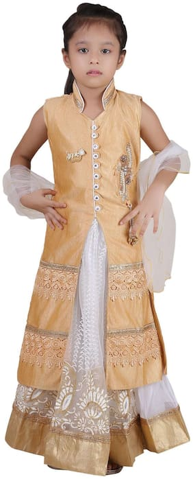 Qeboo Girl's Net Solid Sleeveless Lehenga choli - Beige