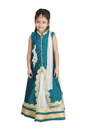 Qeboo Girl Net Embellished Lehenga Choli - Green