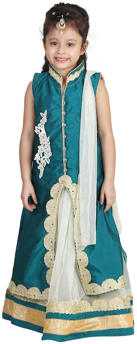 Qeboo Girl's Net Embellished Sleeveless Lehenga choli - Green