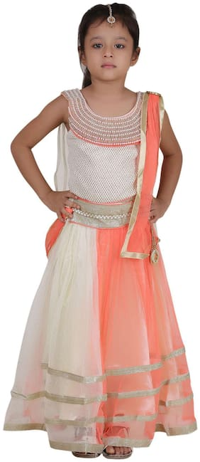 Qeboo Girl's Net Solid Sleeveless Lehenga choli - Orange