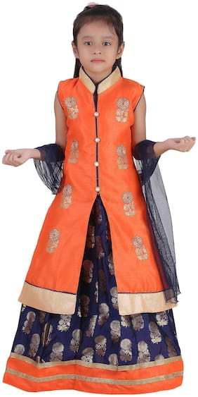 Qeboo Girl's Net Embellished Sleeveless Lehenga choli - Orange