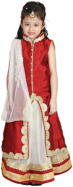Qeboo Girl's Net Embellished Sleeveless Lehenga choli - Red