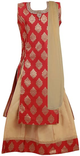 Qeboo Girl's Net Printed Sleeveless Lehenga choli - Red