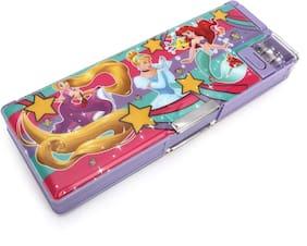 Qips Disney Princess Cartoon Art Plastic Pencil Box (Set Of 1 Purple)