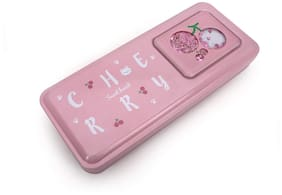 QIPS Multi Layer Metal Pencil Box with Cherry Print