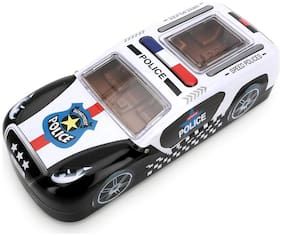 QIPS Multi Layer Police Car Shaped Metal Pencil Box with Wheels Black New