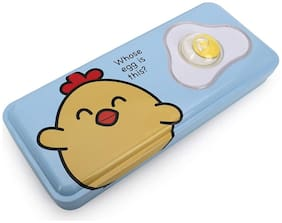 QIPS Multi-Layer Metal Pencil Box with 3D Egg Accessory on The Flap Blue New