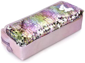 QIPS Unicorn Reveisible Sequin Multi-Utility Pencil Pouch Bag Purple