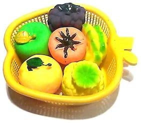 Quality Non-Toxic Soft Chu chu Fruit/Vegetable Bath Toys Set of 6 Multi-Color.