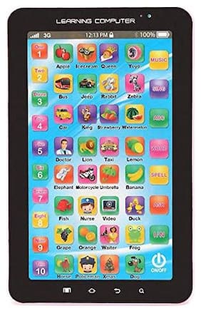 QUICK BAZAAR P-1000 Learning Tablet with Music, A-Z Alphabets, 1-10 Numbers & 7 Special Word Button (Pack of 1) Assorted