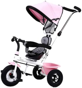 R for Rabbit Tiny Toes Sportz Cycle - The Stylish Plug and Play Baby Tricycle for Kids Rubber Wheels (Pink)