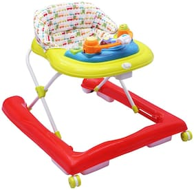 R for Rabbit Zig Zag - The Anti Fall Safe Baby Walkers with Adjustable Height and Musical Toy Bar (Red Green)