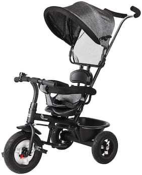 R for Rabbit Tiny Toes Sportz Cycle - The Stylish Plug and Play Baby Tricycle for Kids  Rubber Wheels (Black)