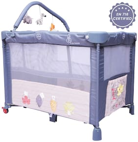 R for Rabbit Hide and Seek- Smart Folding Baby Bed Cum Cot/Crib (Grey)